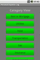 Screenshot of Personal Expense Log