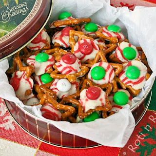M&M, Hugs, and Kisses Holiday Pretzels