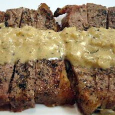 Sliced Shell Steak on Parmesan Toast with Shallot and Sour Cream Sauce