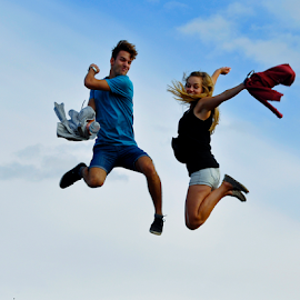 Jump by Keith Sutherland - People Couples ( sky, couple, jump )