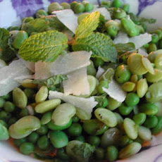 Pea and Bean Salad With Shaved Pecorino Cheese