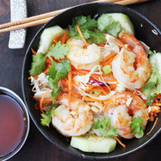 Skillet Rice Noodle Bowl with Shrimp and Vegetables