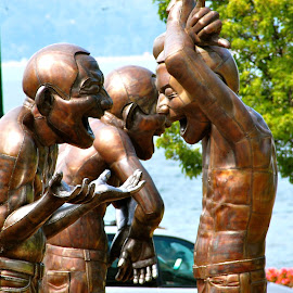 Laughter Is The Best Medicine by Kathleen Koehlmoos - Buildings & Architecture Statues & Monuments ( vancouver b. c., statues laughing, laughing statues, vancouver, statues in vancouver, vancouver parks )