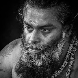Indian Priest in Malaysia by Sathis Kumar - People Portraits of Men ( potrait, priest, black and white, indian, men, people )
