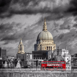 St Paul's and London Bus by Scott Anderson - City,  Street & Park  Skylines ( urban, st pauls, red, bus, london, cathedral, city )