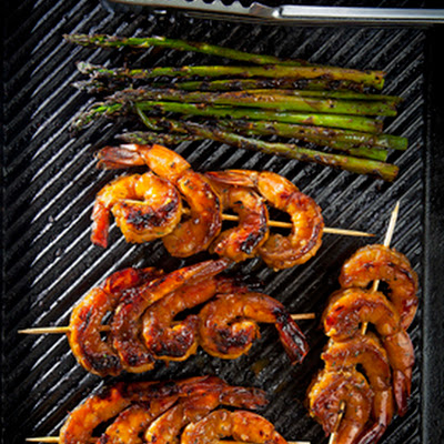 Cane Syrup-Glazed Grilled Shrimp with Asparagus