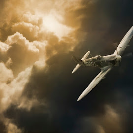 The Darkest Days by Jeff Stephenson - Transportation Airplanes ( victory, spitfire, military, aviation, flight, flying, royal, aircraft, canadian, air, force, fighter, planes )
