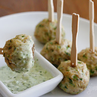 Southwest Turkey Meatballs with Creamy Cilantro Dipping Sauce