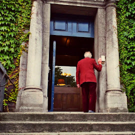 by Angie Constable - Buildings & Architecture Office Buildings & Hotels ( doorbell, front door, man at door, red suit, ivy, steps,  )