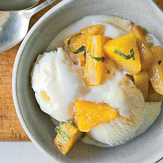 Pineapple and Basil Sundaes