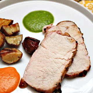Grilled Pork Loin with Wrinkled Potatoes, Mojo Verde and Mojo Picón