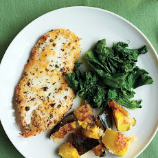 Chicken Cutlets with Mustard Greens and Roasted Squash