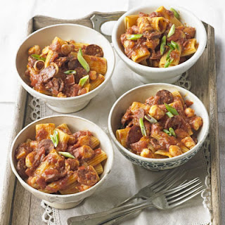 Rigatoni With Spiced Prawns, Tomatoes & Chorizo