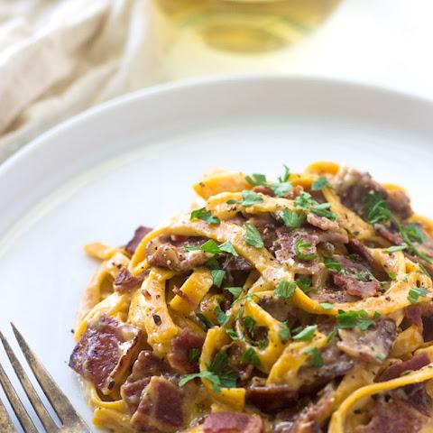 Spaghetti Carbonara with Sweet Potato Fettuccine