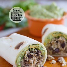Quinoa Chicken and Black Bean Burritos with Chipotle Guacamole