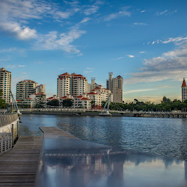 Singapore Kallang River by Charles Ong - City,  Street & Park  Vistas ( reflections, kallang, singapore, river )