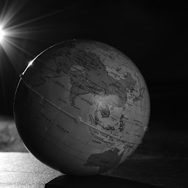 The Globe by Kaushik Mondal - Novices Only Objects & Still Life ( b&w, black and white, night view of earth, earth, bnw, globe,  )