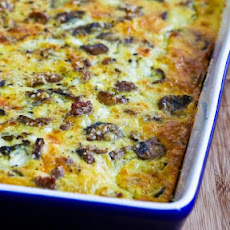 Breakfast Casserole Recipe with Sweet Italian Sausage, Mushrooms, and Cheese