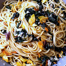 Spaghetti with Swiss Chard and Garlic Chips