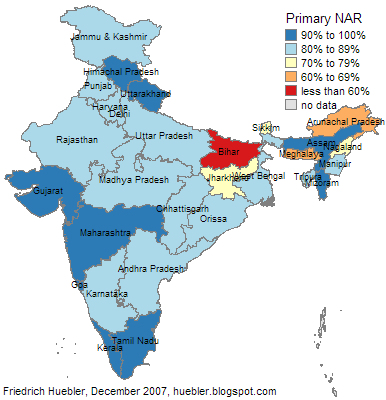 Map showing primary school attendance in India by state and territory, 2006