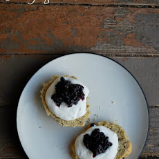 Earl Grey Lavender Scones with Mock Devonshire Cream and Blueberry Preserves