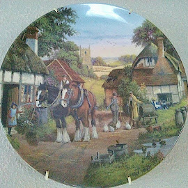 Village ways by Lyz Amer - Artistic Objects Cups, Plates & Utensils ( plate )