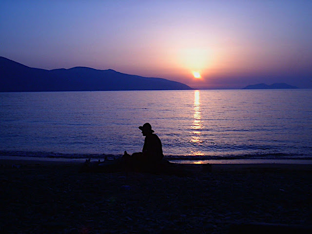 Sunset from Albania. Me. Valona (near), July 22, 2003. Summer Route 2003, Albania.
