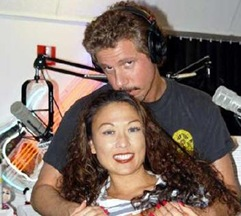 russ martin and a female friend at his studio
