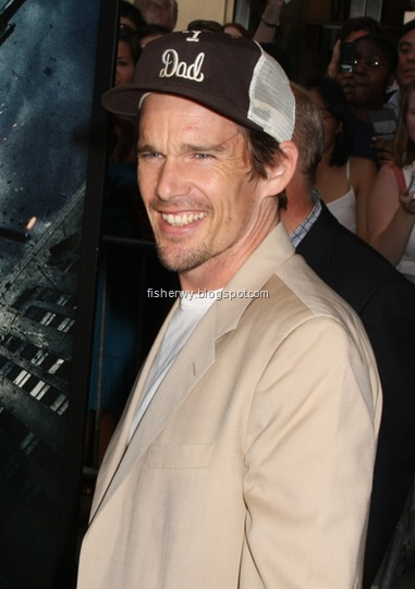Picture of Ethan Hawke attending The Dark Knight premiere on July 14, 2008.  Ethan Hawke's wife Ryan Shawhughes  gave birth to daughter Clementine Jane Hawk, the first child of the couple together, on July 18 in NYC