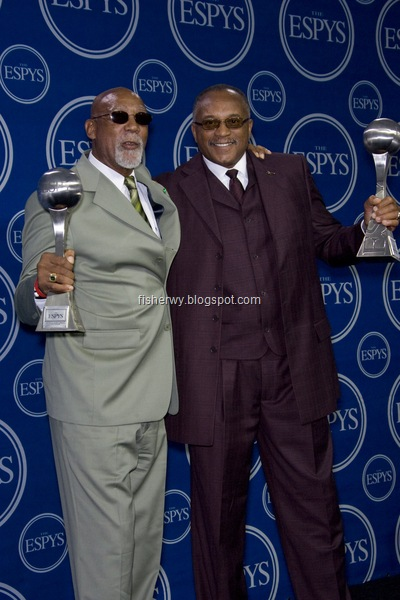 Photo of John Carlos and Tommie Smith receiving 2008 16th Annua Espys Awards