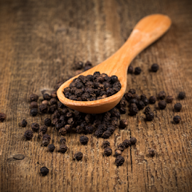black pepper on wooden spoon by Roman Tsubin - Food & Drink Ingredients ( old, sort, wood, set, retro, pepper, spoon, yellow, pot, legume, nature, vegetarian, closeup, black, meal, cook, structure, lots, dry, vintage, texture, white, flavor, agriculture, plate, kitchen, picture, nutrition, wooden, red, color, food, horizontal, background, quality, healthy, natural )