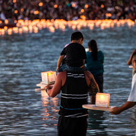 Lantern Floating 2 by Leah Varney - News & Events US Events ( water, events, ocean, beach, people )