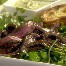 Marinated and Grilled Skirt Steak with Wilted Watercress and Salsa Verde