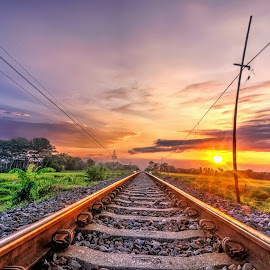 Sunset in Railway Track by Randi Pratama M - Transportation Railway Tracks ( railway, railroad )
