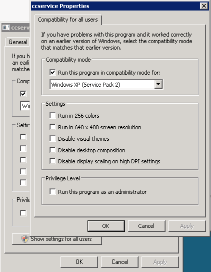 Compatibility for all users dialog