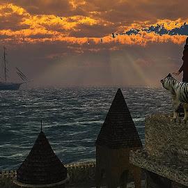 The Princes! With Godrays-SV-01 by Rajjib's Photo - Digital Art Places ( tiger, ship, illustration, fine art, architecture, transportation, landscape, people, birds, sun, fantasy, sky, white tiger, nature, digital art, vehicles, vue xstream 2014, animal, photoshop, water, concept art. entertainment, sea, places, godrays, egle, 3d max 2014, environment, 3d daz studio, desktop wallpaper, 3d, sunset, cloud, lightroom, castle, characters, princes, goose )