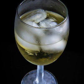 White Wine On A Hot Day by Rosemary Jardine - Food & Drink Alcohol & Drinks ( wine, frosty glass, chilled glass, ice cubes, white wine )