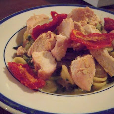 Orecchiette in Feta Sauce with Roasted Turkey and Sun-Dried Tomatoes