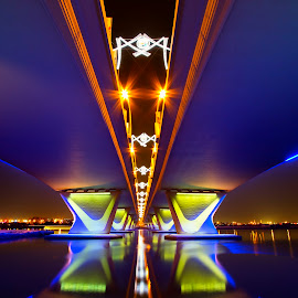 by Rafael Uy - Buildings & Architecture Bridges & Suspended Structures ( dubai, uae, long exposure, architecture, bridge, nightscapes, garhoud, , water, device, transportation )