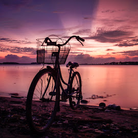 LIPI Beach at Pari Island by Kurnia Lim - Transportation Bicycles ( sunset, seascape, beach, landscape,  )
