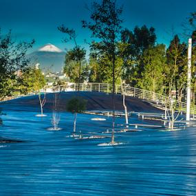 Park and volcano by Cristobal Garciaferro Rubio - City,  Street & Park  City Parks ( volcano, puebla, city park )