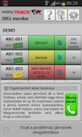 Screenshot of easyTRACK OBU Monitor