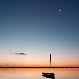Sun (and moon) rise by Steve Morrison - Landscapes Sunsets & Sunrises