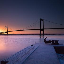 Bridge sunset by Kim Borup Matzen - Landscapes Sunsets & Sunrises ( water, color, sunset, long exposure, bridge, denmark )