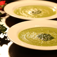 Parsnip And Pea Soup With Walnut Pesto