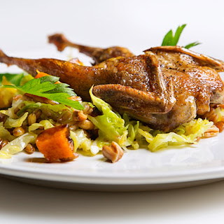 Roast Quail with Farro and Winter Squash
