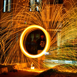 Ring of fire by Nishant Agarwal - People Fine Art ( flames, light painting, steel wool, park, long exposure )