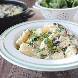 Four Cheese Stuffed Baked Rigatoni with Spinach Alfredo Sauce