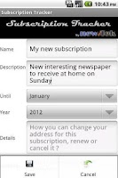 Screenshot of Subscription Tracker