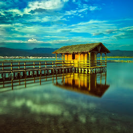 messolonghi Greece by Chris Kontoravdis - Landscapes Travel ( clouds, lagoon, hut, sunset, lake, fishing )